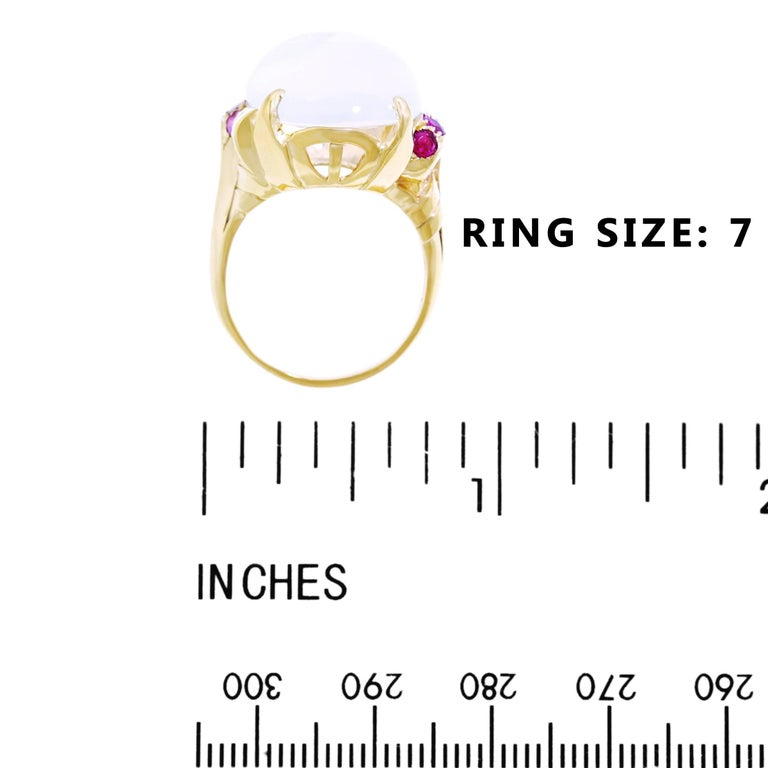 15.67 Carat Moonstone and Ruby Set Gold Ring For Sale 1