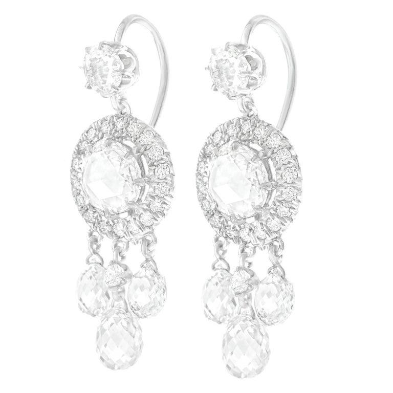 Fred Leighton Diamond Set Gold Chandelier Earrings
