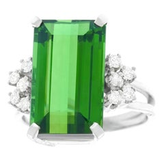 Sleek 1960s Tourmaline and Diamond Ring