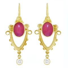 Archaic Motif Ruby and Diamond Set Gold Earrings