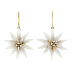 Natural River Pearl Flower Set Gold Earrings
