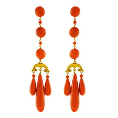 Stunning Antique Italian Coral Chandelier Earrings