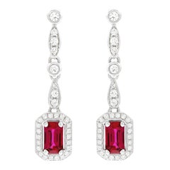 Ruby and Diamond Set Gold Chandelier Earrings