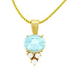 Aquamarine and Diamond Set Pendant with Chain