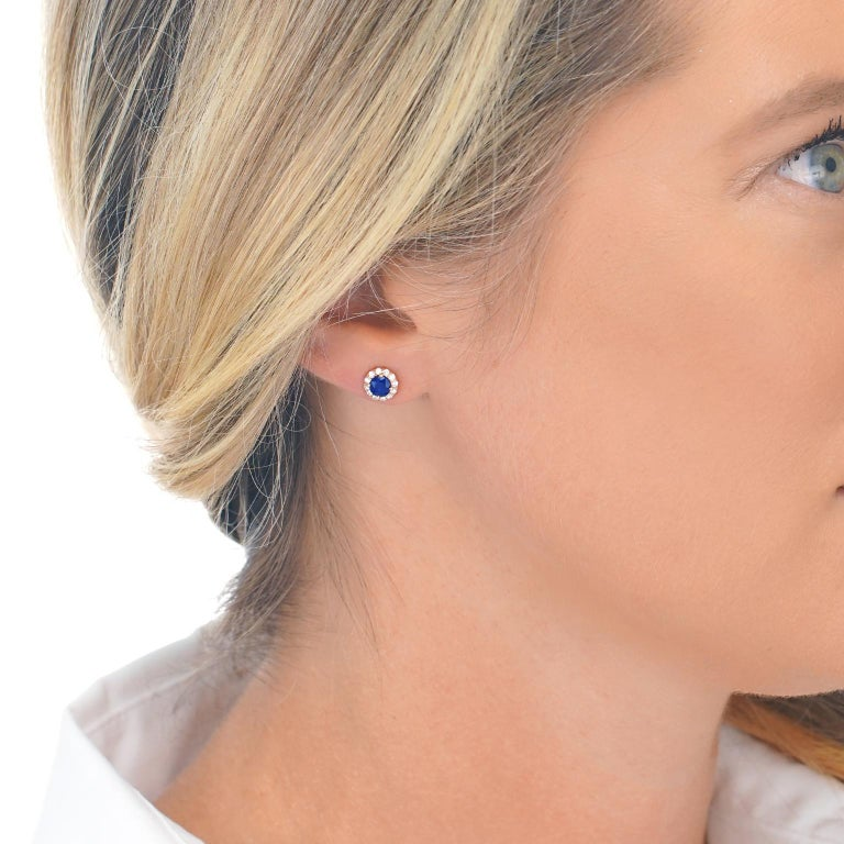 Women's or Men's Sapphire and Diamond Set Gold Stud Earrings For Sale