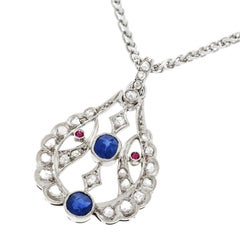 Antique Sapphire and Diamond Platinum Pendant