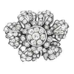 Diamond Set Flower Brooch Silver over Gold
