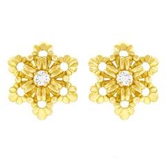Gubelin Diamond Set Gold Earrings
