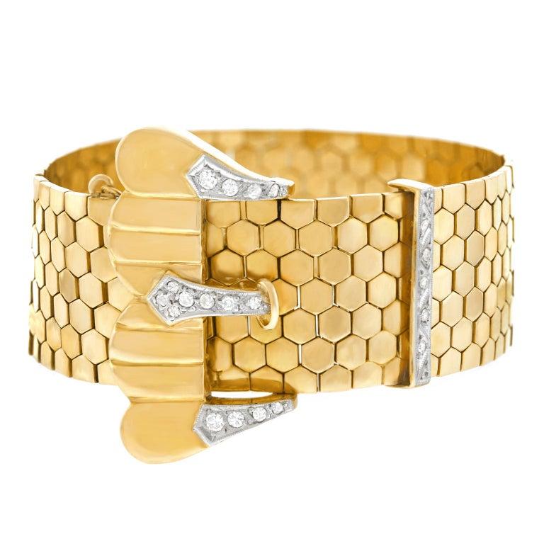 Retro Diamond Set Gold Buckle Bracelet