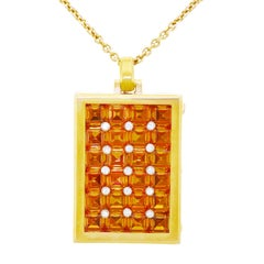 Fabulous Modernist Citrine and Diamond Set Gold Locket