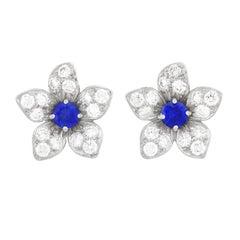 Hammerman Brothers Diamond and Sapphire Set Platinum Earrings