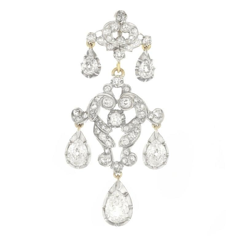 Georgian Diamond Set Silver Topped Gold Pendant