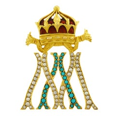 Antique Gold Crown Brooch