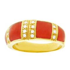 Coral and Diamond Set Gold Ring
