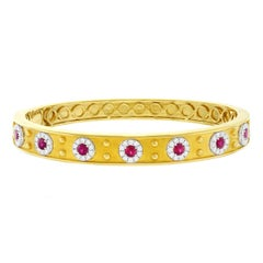 Gorgeous Ruby and Diamond Set Gold Bangle by Spark Creations