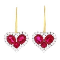 Spark Creations Ruby and Diamond Heart Earrings