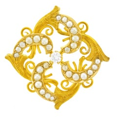 Victorian Diamond Pearl Set Gold Brooch