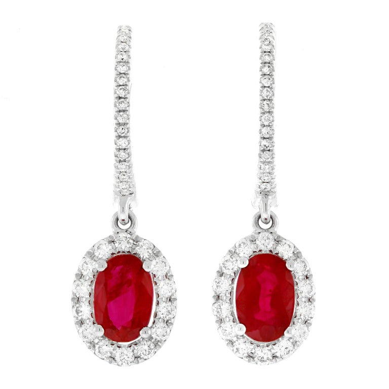 Ruby and Diamond Drop Earrings For Sale