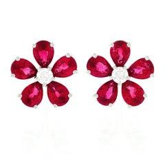 Spark Ruby and Diamond Set Gold Flower Earrings