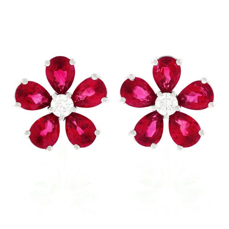 Spark Ruby and Diamond Set Gold Flower Earrings For Sale