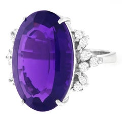 Stunning 18.70 Carat Amethyst and Diamond Set Gold Ring