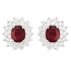 Stunning Rhodolite Garnet and Diamond Set Platinum Earrings