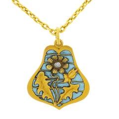 Blue Plique-à-Jour Jugendstil Gold Pendant