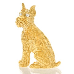 Charming Dog Brooch 14k c1960s