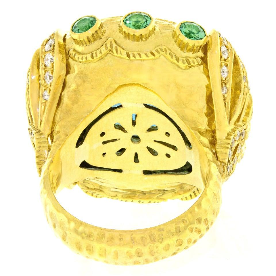 Gorgeous Organic Motif Aquamarine Diamond Gold Ring 8