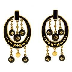 Antique Enamel Gold Chandelier Earrings