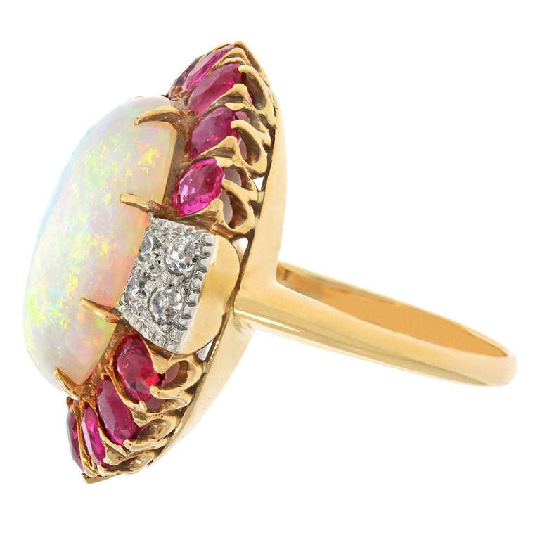 deco opal and ruby ring at 1stdibs