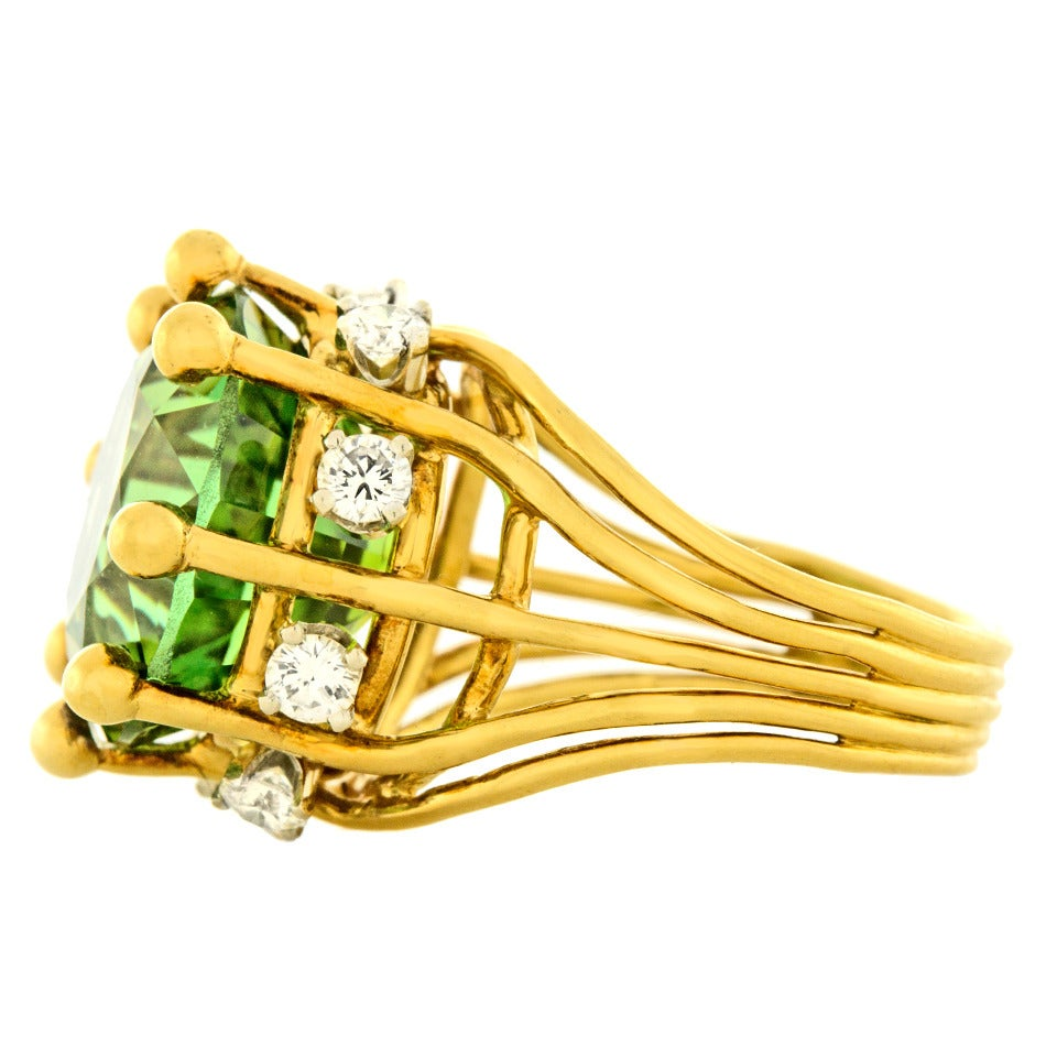 Jean Schlumberger for Tiffany & Co. Peridot Diamond Gold Ring 3