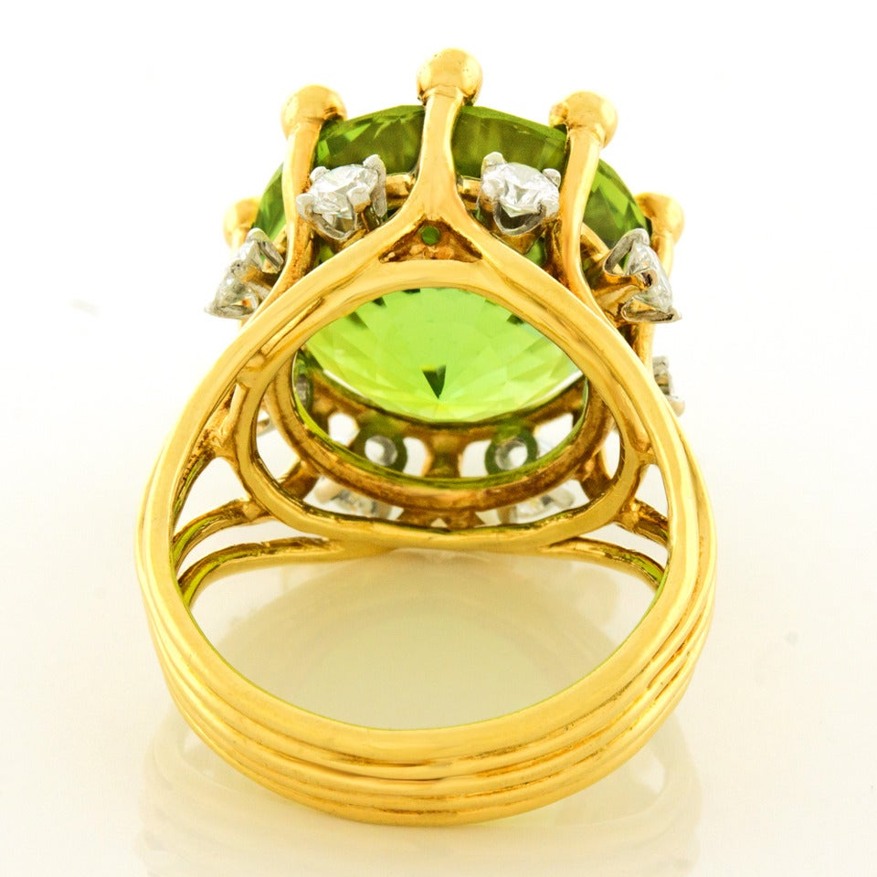 Jean Schlumberger for Tiffany & Co. Peridot Diamond Gold Ring 7