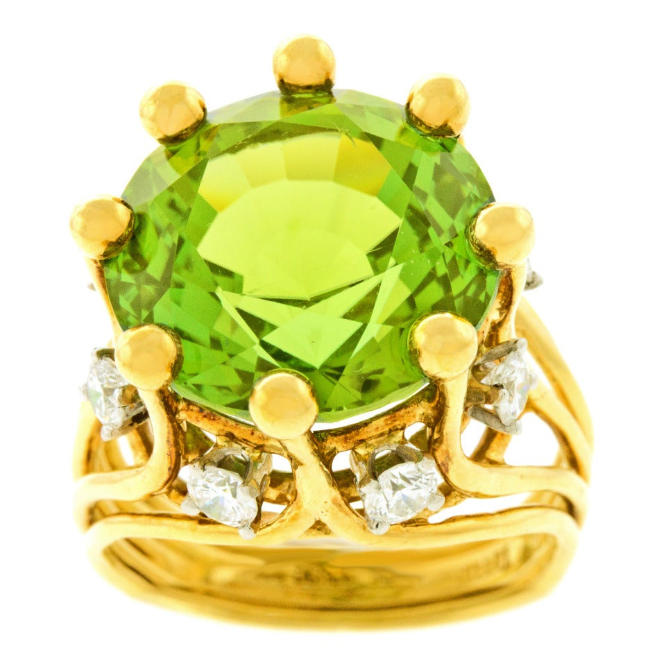 Jean Schlumberger for Tiffany & Co. Peridot Diamond Gold Ring 8