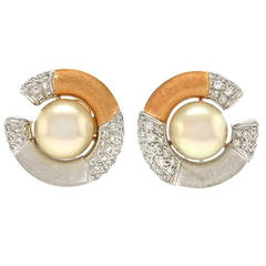 Paul Binder Pearl Diamond Gold Earrings
