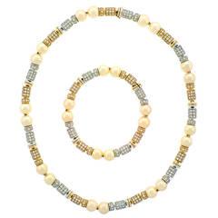 Paul Binder Pearl & Diamond Necklace/Bracelet