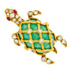 Tiffany & Co. Jade Ruby Diamond Gold Turtle Brooch