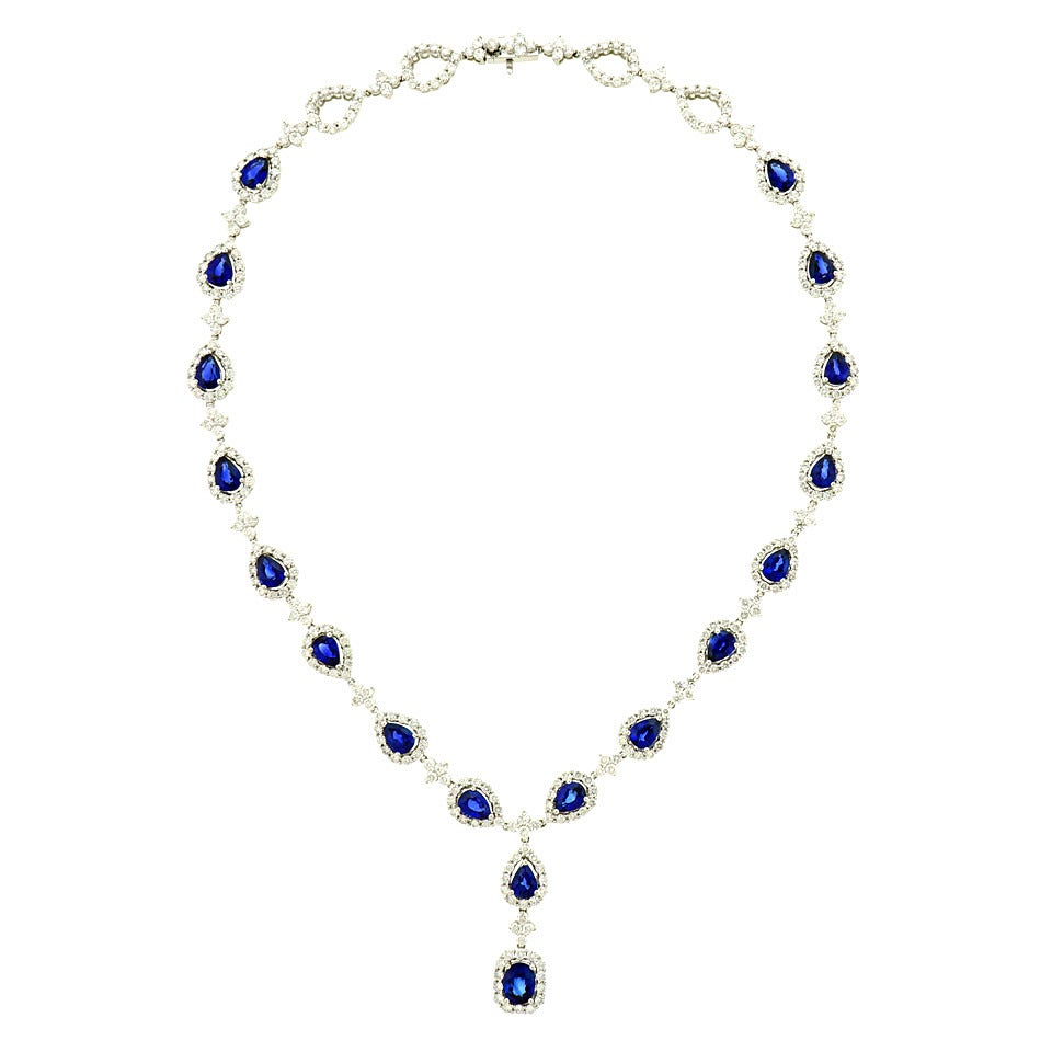 Stunning Gregg Ruth Sapphire & Diamond White Gold Necklace 1