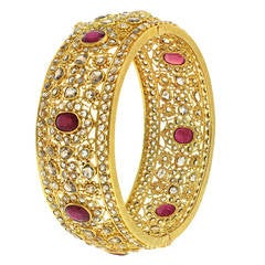 Modern Mogul Ruby Diamond Bangle Bracelet