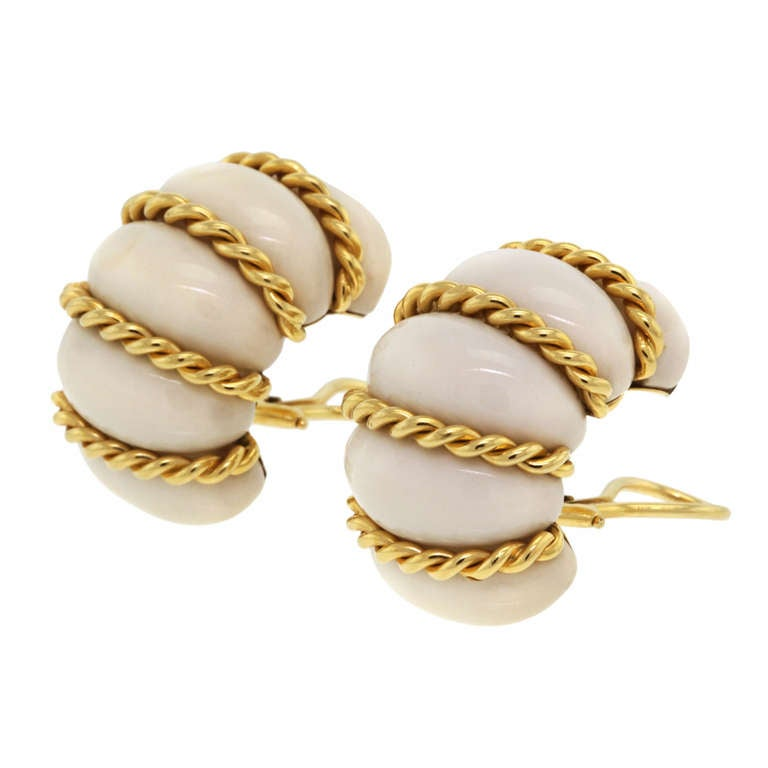 seaman schepps white coral earrings at 1stdibs