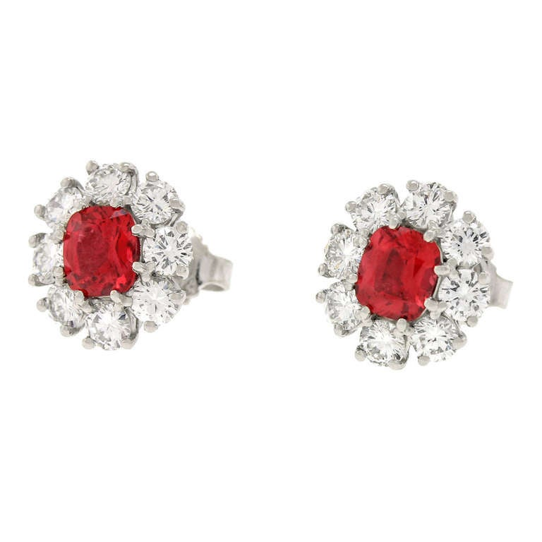 Lawrence Jeffrey Red Spinel & Diamond Earrings 3