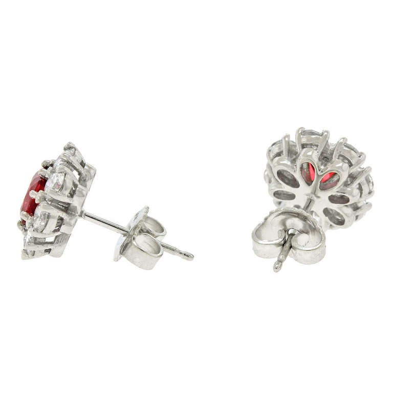 Lawrence Jeffrey Red Spinel & Diamond Earrings 7