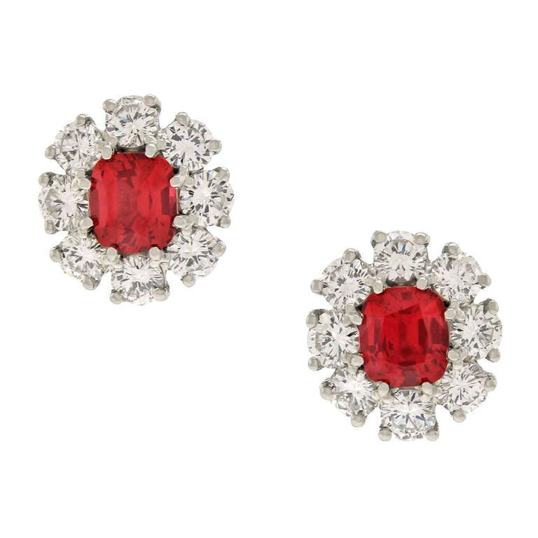 Lawrence Jeffrey Red Spinel & Diamond Earrings 8