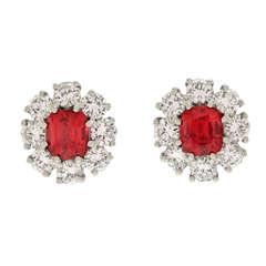 Lawrence Jeffrey Red Spinel & Diamond Earrings