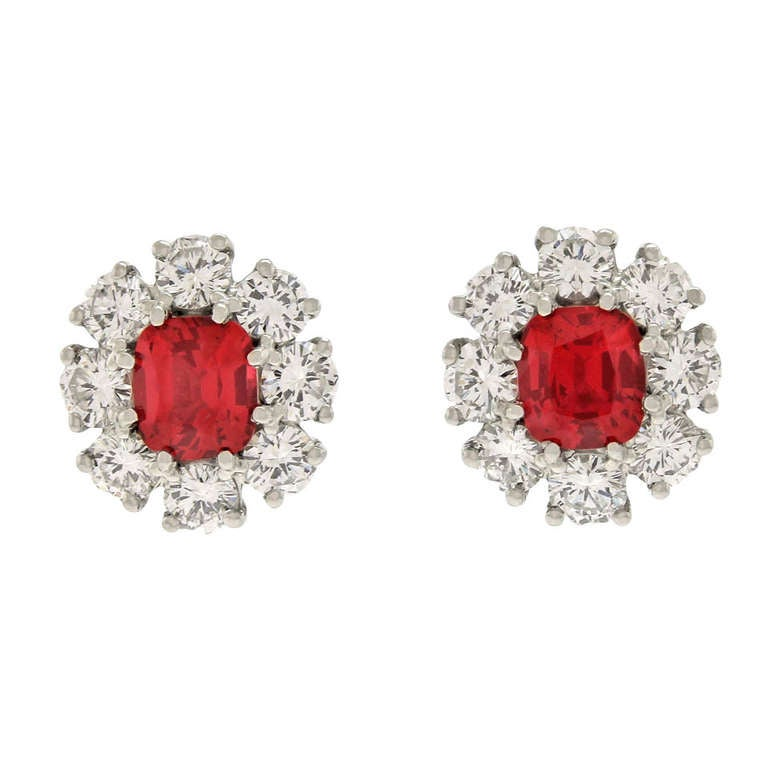 Lawrence Jeffrey Red Spinel & Diamond Earrings 1
