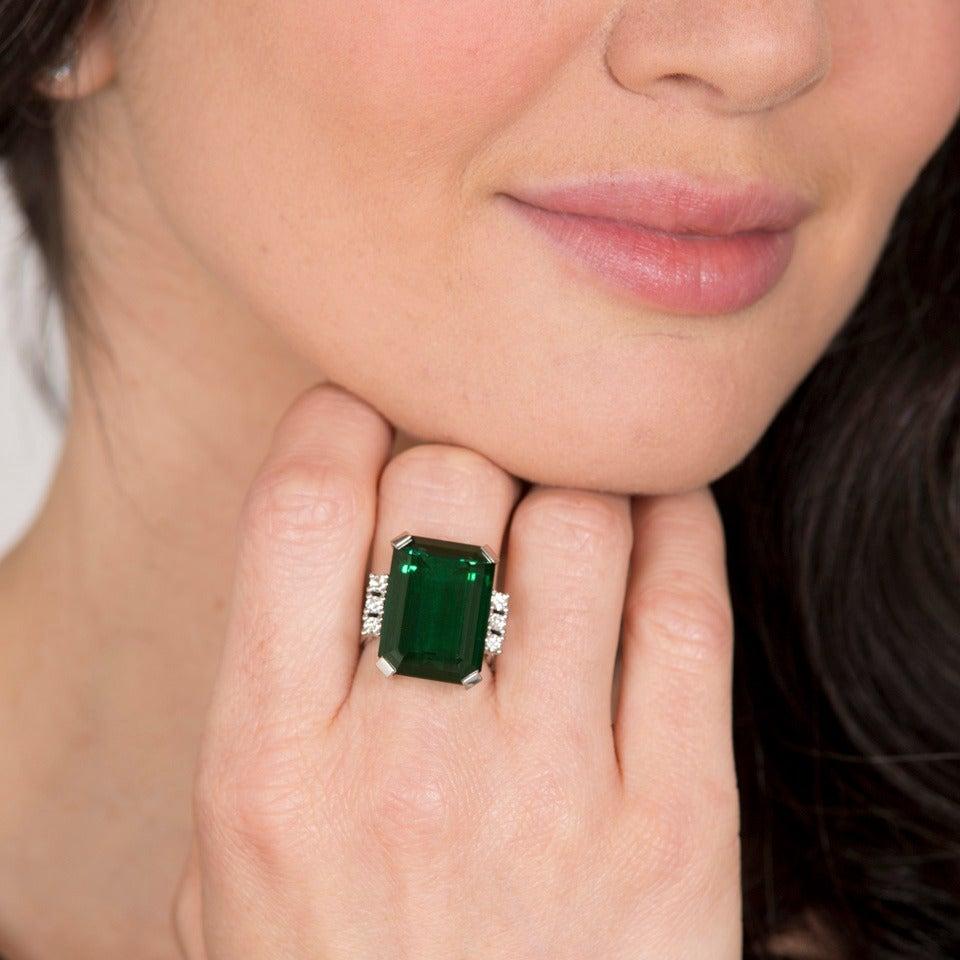 Women's Modernist 25 Carat Tourmaline Diamond Gold Cocktail Ring For Sale