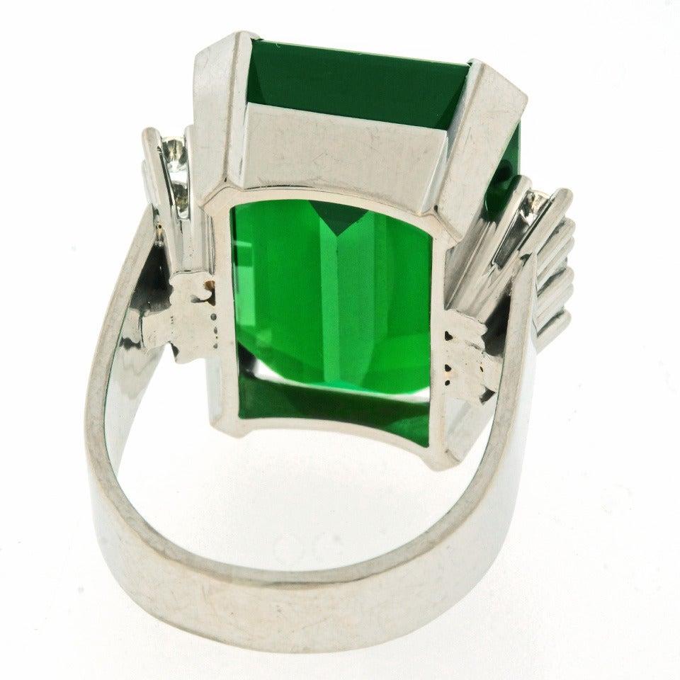 Modernist 25 Carat Tourmaline Diamond Gold Cocktail Ring For Sale 4
