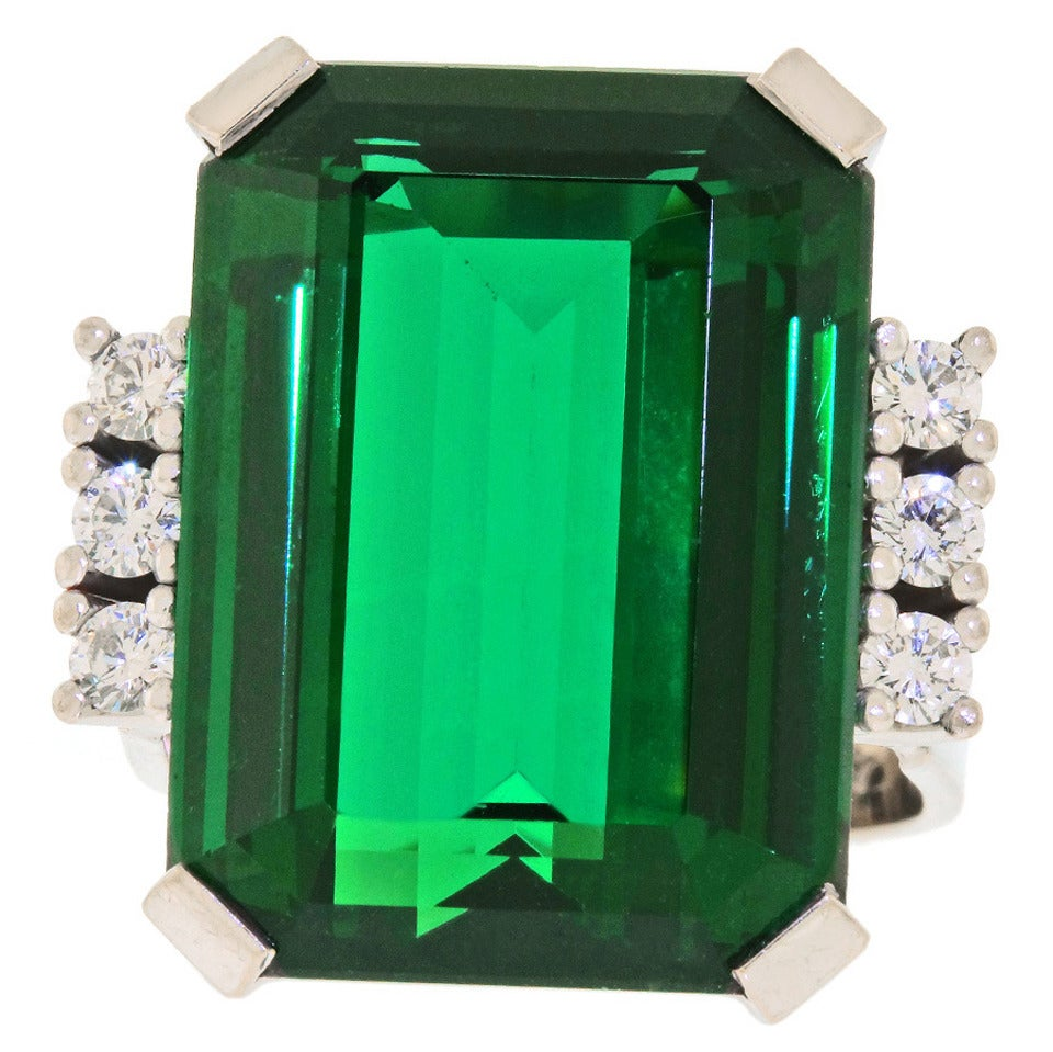 Modernist 25 Carat Tourmaline Diamond Gold Cocktail Ring For Sale