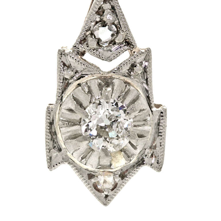 art deco diamond dangle earrings at 1stdibs. Black Bedroom Furniture Sets. Home Design Ideas