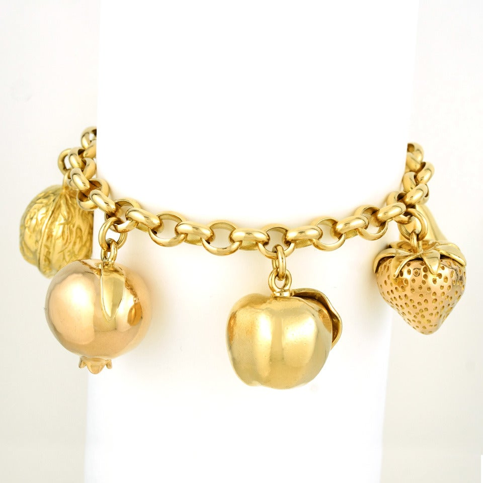 Fruit Motif Charm Bracelet In Excellent Condition For Sale In Litchfield, CT